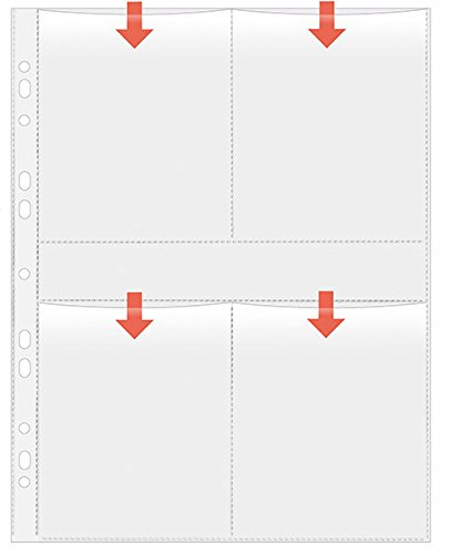 Veloflex 5347100 Fotohüllen DIN A4, Fotosichthüllen, Sammel-Hüllen, für 8 Fotos in Größe 9x13cm hoch, 5 Stück