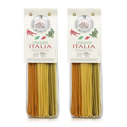 Pastificio Morelli Pasta Italia - Linguine Tri-color Pasta Imported from Italy (pack of 2)