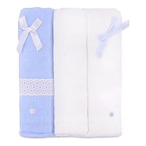 PEKITAS Muselinas Pack de 3 | Mantas de Muselina 100% Algodón | Paños de Muselina para Bebés Calidad 75 x 75 cm Azul y…