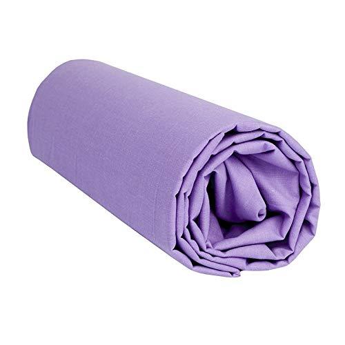Tiendadeleggings (Lila 150) Sabana Bajera Ajustable, Elastica 100% algodón de Verano. Cama 150 x 190-200 cm + 25cm. Fácil Lavado, Planchado y Duradera REGALITOSTV (Malva)