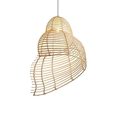 WANGYAN Colgante De Tejido De Bambú De Una Sola Cabeza De Estilo Japonés Pantalla De Lámpara Colgante De Ratán Araña De Arte De Bambú Natural Iluminación De Techo De Ratán De Granja Portalámparas E27