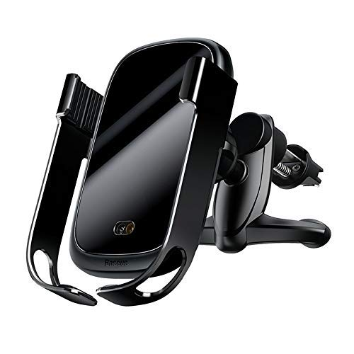 Baseus Rock Smart Vehicle Bracket Wireless Charger Automatische elektrische metalen autohouder voor ventilatiegleuf draadloze Qi-oplader 10W met infrarood sensor zwart
