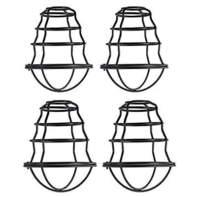 HXMLS Metal Guard Lamp Cage Shade,Black Industrial Style Light Cage for Pendant String Lights Vintage Lamp Holders Industrial Chandelier Ceiling Fixture Lamp Shade Iron Wire Bulb Cage, 4 Pack