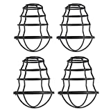 HXMLS Metal Guard Lamp Cage Shade,Black Industrial Style Light Cage for Pendant String Lights Vintage Lamp Holders Industrial Chandelier Ceiling Fixture Lamp Shade Iron Wire Bulb Cage, 4 Pack…