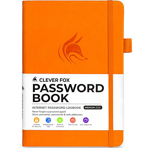 Clever Fox Password Book with tabs. Internet Address and Password Organizer Logbook with Alphabetical tabs. Medium Size Password Keeper Journal Notebook for Computer & Website Logins (Orange)