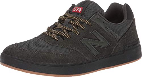 New Balance Men's All Coasts 574 Low Top Sneaker Shoes Dark Green/Black 9