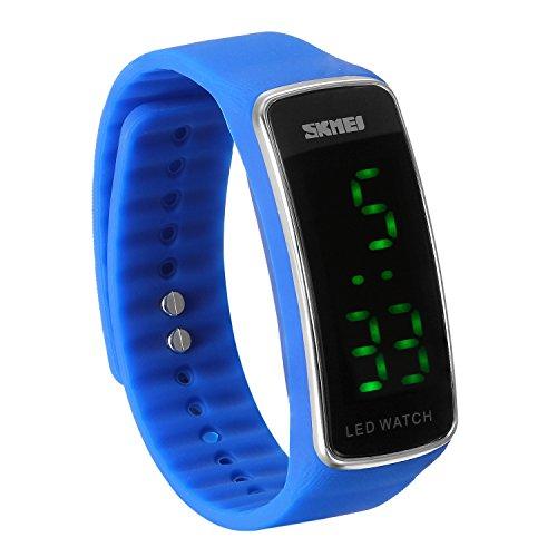 JewelryWe Kinder Junge Mädchen Armbanduhr, Fashion Kalender Multifunktion Digital Uhr Sportuhr mit GMT Zwei Zeitzonen/Datum und Tag/Weltzeit, Armband Farbe: Blau