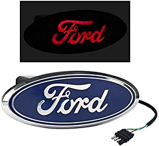 Rear Tow Hitch Truck Red LED Light Up Blue Ford Oval Emblem