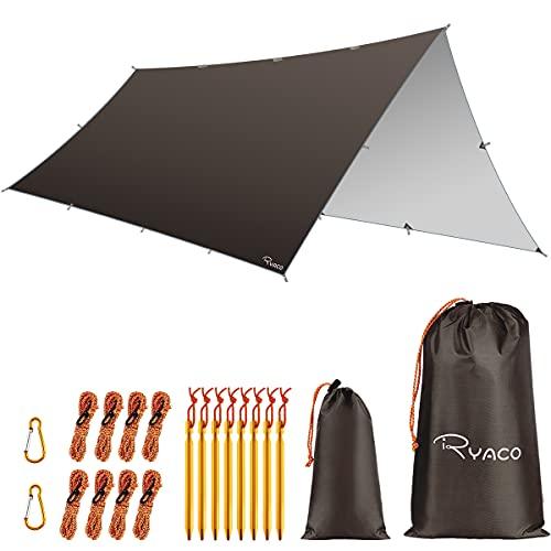 RYACO Toldo de Refugio Impermeable 3M*5M, Hamaca Tienda de campaña, portátil, Ligera, Impermeable, Refugio para Camping, Senderismo, Mochila (3m x 5m, Café)