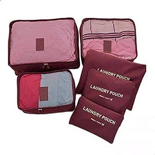 طقم حقائب سفر لتخزين الملابس مكون من 6 قطع، حقيبة منظمة للامتعة، لون احمر