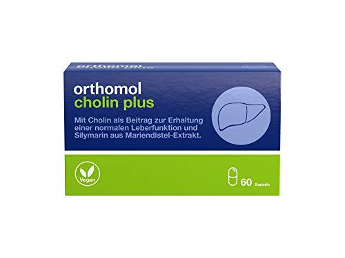 Orthomol Cholin Plus 60er Kapseln - Nahrungsergänzungsmittel mit Silymarin aus Mariendistel Extrakt - Leberfunktion