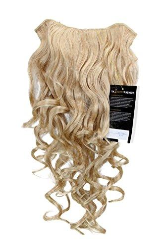 Extension à clipper composée de7 crochets, Perruque ¾, frisée, blond doré/blond clair 50 cm H9503-202