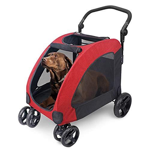 Wooce Pet Carrito de Cuatro Ruedas Trolley para Perros Carritos de Gatos Plegables para Perros Grandes medianos Salientes, Carga Dentro de 60 kg - Rojo