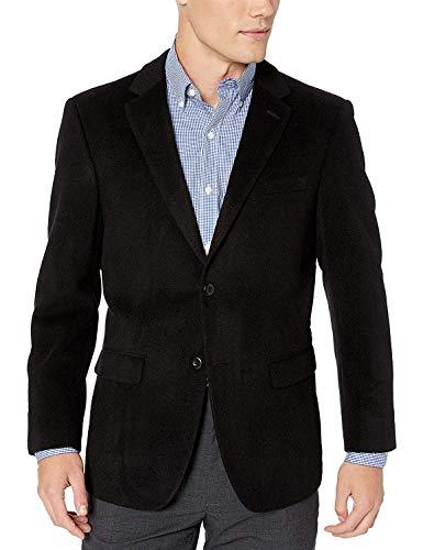 Men's 2 Button Luxury Wool Cashmere Black Sport Coat 48R
