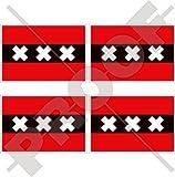Amsterdam Flagge Niederlande, North Holland, Nederland (Dutch 5,1cm (50mm) Vinyl bumper-helmet Sticker, Aufkleber X4