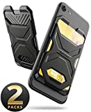 SUPCASE Adhesive Slim Wallet,(2-Pack) Ultra Thin Stick-On Silicone Credit Card Holder Sticker Adhesive Cell Phone Wallet Compatible for Most Smartphones(not fit Mobile Phones with Curved Back)(Black)