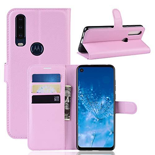 Henxunton Motorola One Action Hülle, PU Leder Flip Tasche Mappe Handyhülle mit Standfunktion Dünn Flip Hülle Cover für Motorola One Action Smartphone (Pink)