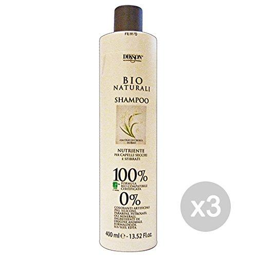 Set 3Dikson Shampoo Bio natürliche nährende Kleie von Reis 400ml Produkt für Haar