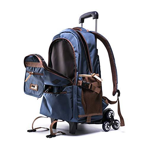 MODRYER Mochila para Niños 6 Wheels Bolsa de la Escuela Detachable Dual Propósito Casual Daypack Schoolbag Wheeled para Niña Niños,Blue-47 * 32 * 16cm