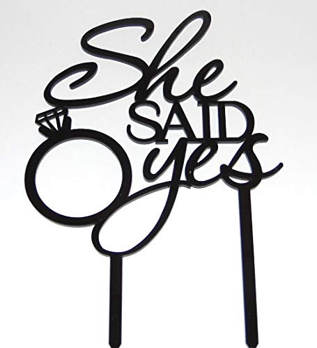 [USA-SALES] She Said Yes Bridal Shower Cake Topper, by Usa-Sales Seller