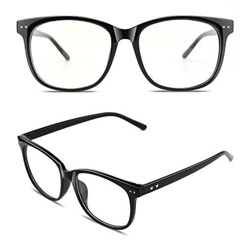 GQUEEN Hornbrille Brille Ohne Stärke Fake Brille Nerdbrille Damen Herren UV400 Glänzend Schwarz,PE1