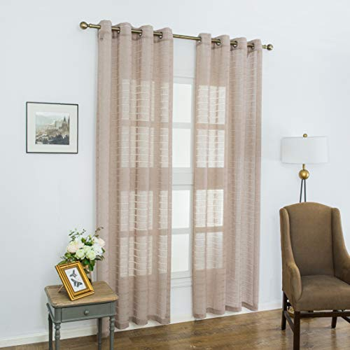 Aquazolax Semi Sheer Striped Linen Curtains Window Voile Panels Grommet Top Soft Patio Guest Bedroom Curtains, Set of 2, 52 x 95 Inch Long, Coffee