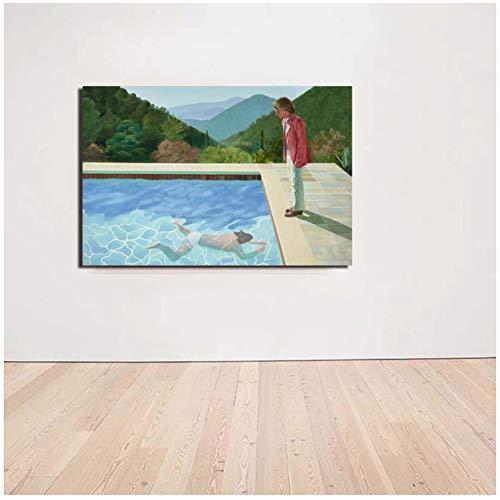 Gerahmter Kunstdruck auf Leinwand, Motiv: David Hockney Pool, 2 Figuren, Wohnzimmer, Heimdekoration, Wandkunst, Poster, 60 x 80 cm, Holzinnenrahmen, 1 Stück