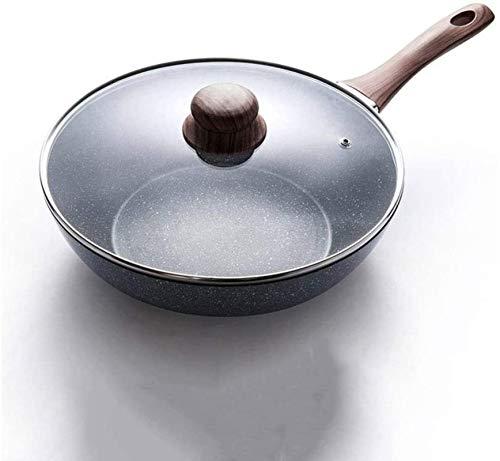 HongLianRiven Wok - Juego de sartenes de cocina (acero al carbono, con tapa y espátula para freír, sartén para el hogar (tamaño grande: grande)