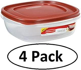 Rubbermaid 7J71 Easy Find Lid Square Food Storage Container, 9-Cup, Red (Pack of 4)
