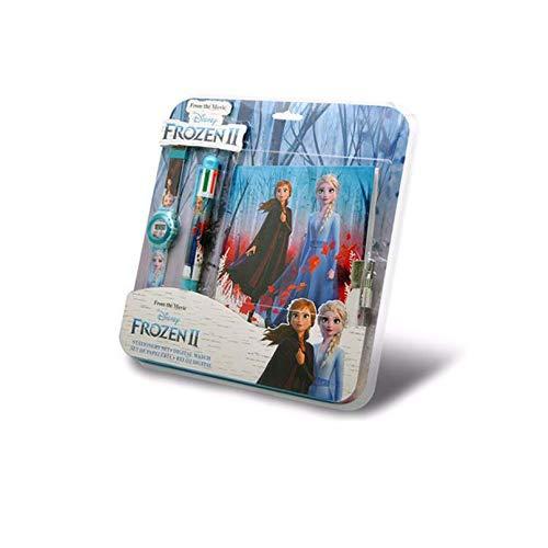 Disney Die Eiskönigin 2 Kinder-Digitaluhr, Schreibwaren-Geschenk-Set für Mädchen, mit abschließbarem Tagebuch und Multifunktionsstift