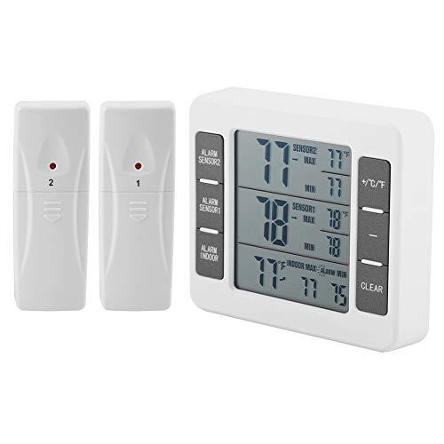 Kühlschrankthermometer, MAGT Wireless Digital Akustischer Alarm Kühlschrank Gefrierschrank Thermometer Mit 2 Stücke Sensor Min/Max Display Für Zuhause, Restaurants, Etc (Farbe : Weiß)