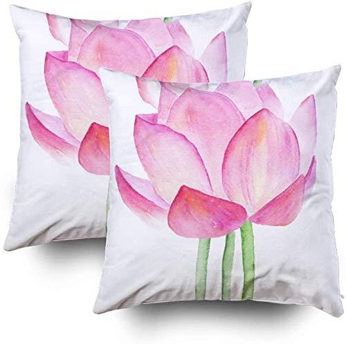 Juego de 2 fundas de almohada de 45 x 45 cm, diseño de flores de loto, acuarela, decoración del hogar, fundas de almohada con cremallera para sofá