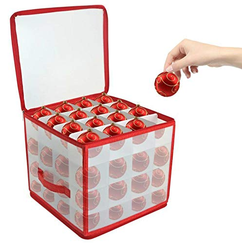 DEENZ CHRISTMAS TREE 64 BAUBLE DECORATIONS STORAGE BOX WITH ZIP TOP 4 LAYER TO STORE BAUBLE TOTAL 64 BAUBLE STORAGE