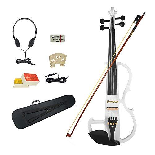 Ennbom 改良版エレキヴァイオリン エボニー サイレント バイオリン 4/4 つや 初心者入門セット (ホワイト/white)