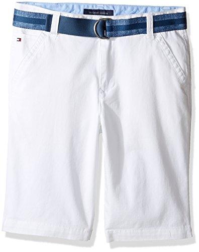 Tommy Hilfiger Big Boys Dagger Stretch Twill Short, White, 10