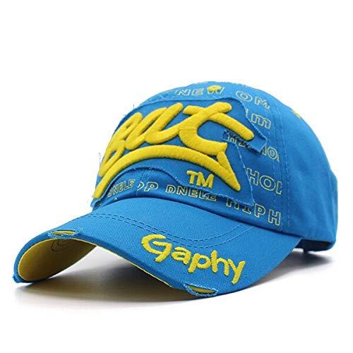 GMZXX Mode Baseballmütze Hüte für Männer Frauen Marke Baumwolle Stickerei Knochen Buchstabe Fledermaus Papa Hut Mützenblau