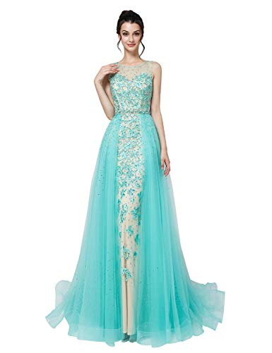 Sarahbridal Women's Applique Tulle Prom Dress Long Mermiad Wedding Party Gowns for Bridal Mint US4
