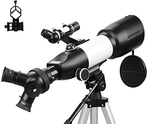 Binoculares para adultos adultos principiantes 80 mm apertura 400 mm lente prisma BAK4 oculares 3 en 1 binoculares refractores para astronomía con soporte para teléfono inteligente y trípode y contr