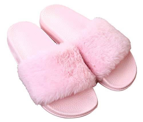 Sandalias planas de piel sintética para mujer con puntera abierta, para uso interior y exterior, Rosa (Rosado), 37.5 EU