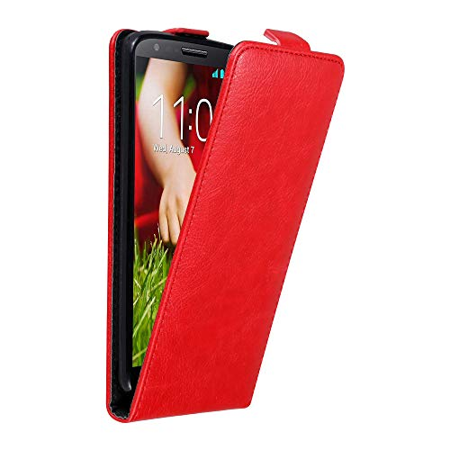 Cadorabo Hülle für LG G2 in Apfel ROT - Handyhülle im Flip Design mit Magnetverschluss - Case Cover Schutzhülle Etui Tasche Book Klapp Style
