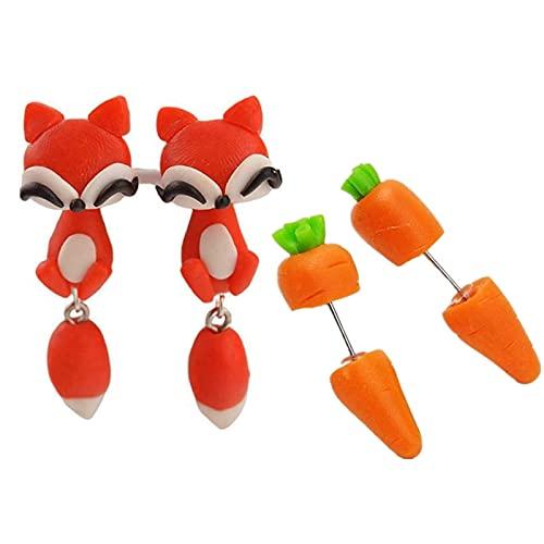 LASULEN Bite Earrings, Cute Animal Bite Earring - 3D Clay Earrings, Pendientes de Perforación Pendientes Sencillos Bonitos Diseños de Oreja, Pendientes Joyas para Niñas Mujeres