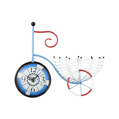JCOCO Américain Rétro Fer Art Vélo Horloge Murale Maison Ornements Métal Creative Silencieux Non-coutil Quartz Horloge de Bureau pour Chambre Salon Décoration Murale Quartz Horloge (Couleur : E)