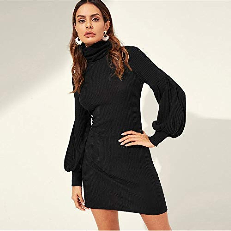 XGDLYQ Black High Neck Balloon Sleeve Ribbed Knit Solid Stretchy Slim Fit Mini Dress Women Autumn Casual Sweatshirt Dresses