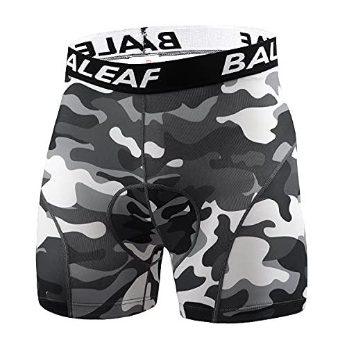BALEAF Men s Bike Shorts 4D Padded 4.7  Cycling Underwear with Non-Slip Silicone Bicycle Mountain Biking MTB Black Camo M