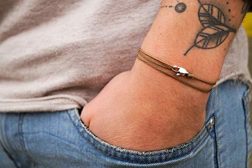 Dezentes Armband für Herren - edles Wickelarmband für Männer Minimalistisch - stufenlos verstellbar mit Karabiner-Haken Silber (Coyote)