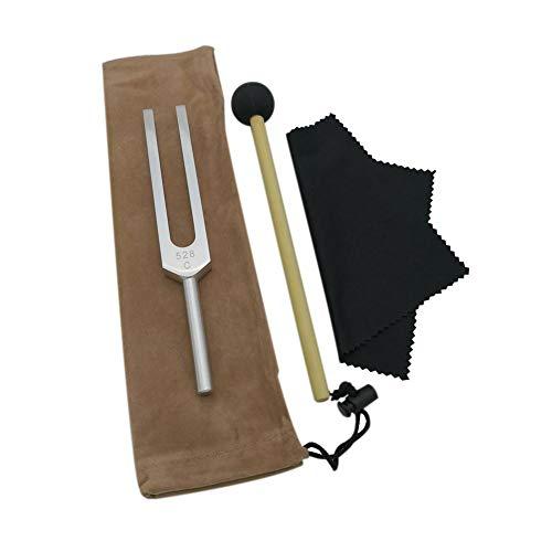 coil.c Tuning Fork 528 Hz - Diapasón con Martillo de Silicona, paño de Limpieza, Instrumento Musical Reparar el ADN y Instrumento pedagógico