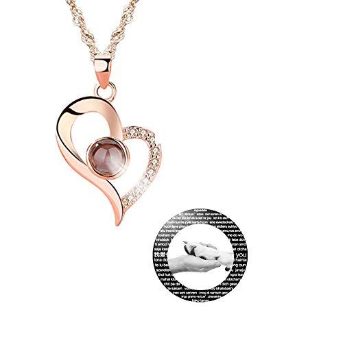 hjsadgasd Personalisierte Foto 100 sprachen Halskette ich Liebe Dich Halskette Liebhaber Herz anhänger Halskette für Frauen Mama Geschenk