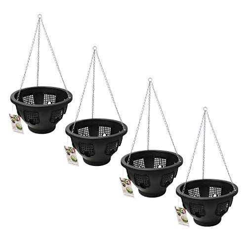Guaranteed4Less Flower Floral Hanging Basket Green Easy Fill Bloom Chain Garden Black Plant Pot (4, Black)