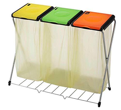 Vileda Gimi Nature Plus 3 Müllsackständer, Rahmen aus Stahl, Tasche: Polyester