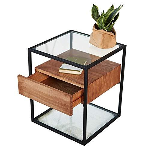 Industriële stijl bijzettafel met 1 massief houten laden gehard glas salontafel slaapkamer nachtkastje